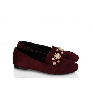 Babet Ayakkabı Düz Model Bordo İncili