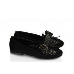 Babet Ayakkabı Siyah Süet Şık Taşlı
