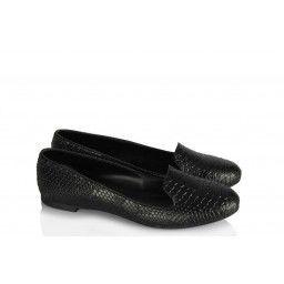 Babet Ayakkabı Siyah Crocodile Dilli