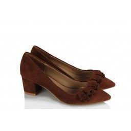Stiletto Ayakkabı Taba Süet Fırfırlı
