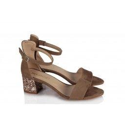 Topuklu Ayakkabı Sandalet Vizon Süet Yaldızlı