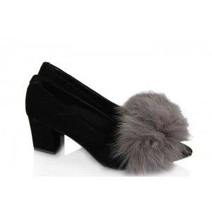 Stiletto Siyah Süet Gri Kürklü Model
