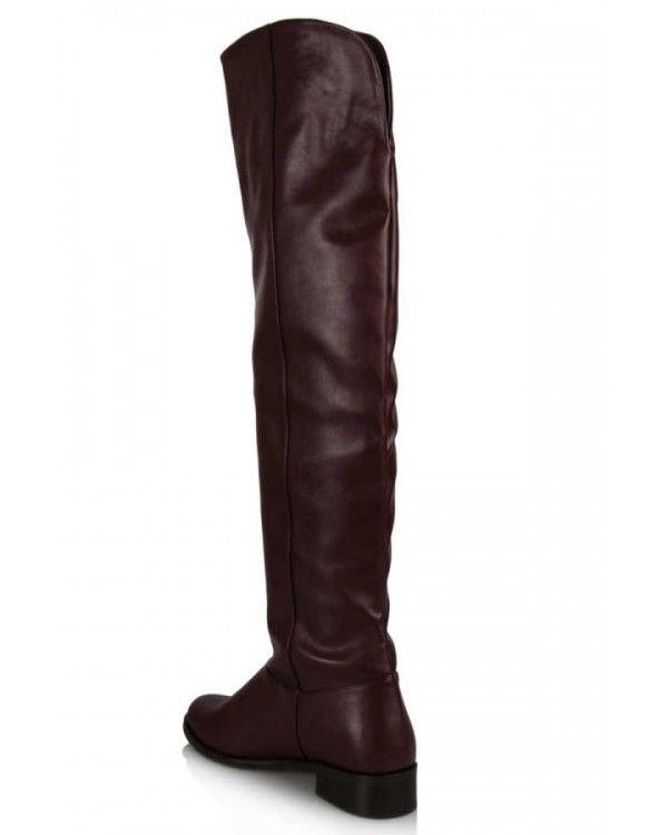 Bordo Dizüstü Binici Kadın Çizme