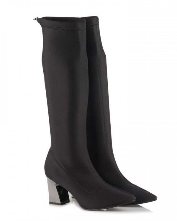 Streç Çizme Topuklu Siyah