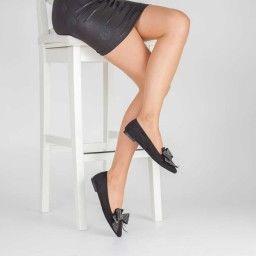 Babet Ayakkabı Siyah Süet Sivri Taşlı
