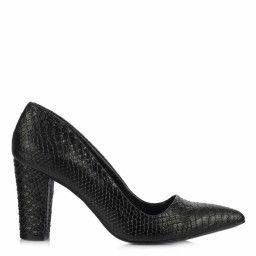 Stiletto Siyah Crocodile Kalın Topuklu