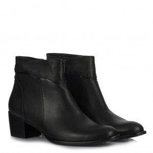 Topuklu Bayan Bot Siyah Hakiki Deri