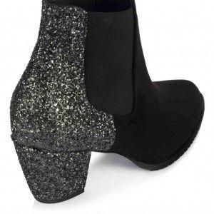 Topuklu Bot Siyah Simli