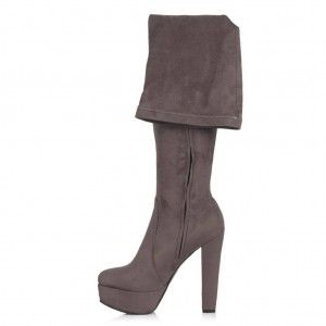 Bayan Platform Streç Çorap Çizme Gri Süet