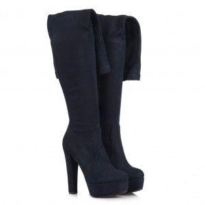 Bayan Platform Streç Çorap Çizme Lacivert Süet