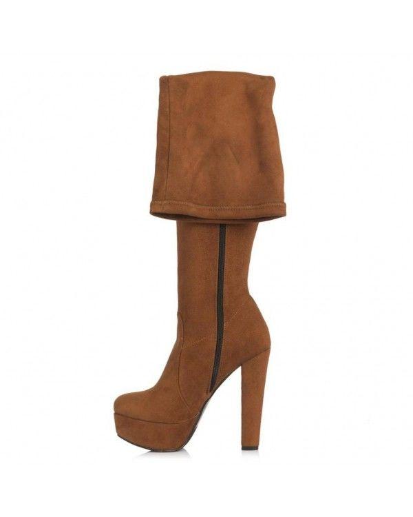 Bayan Platform Streç Çorap Çizme Taba Süet