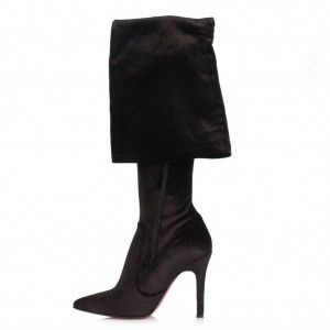 Topuklu Çizme Siyah Kadife Streç