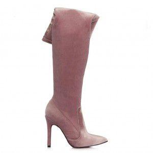 Pembe Kadife Streç Çizme