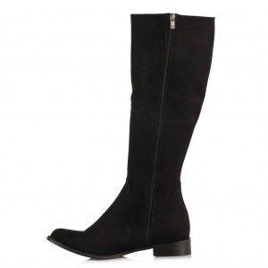 Çizme Siyah Süet Düz Model