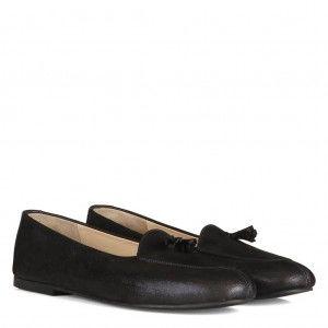 Siyah Yaldızlı Püskül Babet Ayakkabı