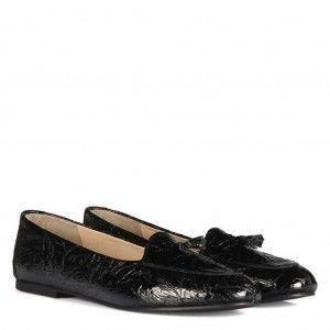 Leofer Ayakkabı Hakiki Deri Siyah Rugan Damarlı