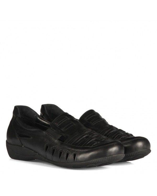 Düz Ayakkabı Siyah Hakiki Deri Yumuşak Taban