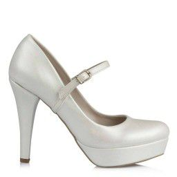Düğün Ayakkabısı 17 Pont Kırık Beyaz Renk Bantlı Model
