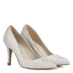Gelin Ayakkabısı Stiletto Kırık Beyaz Dantelli