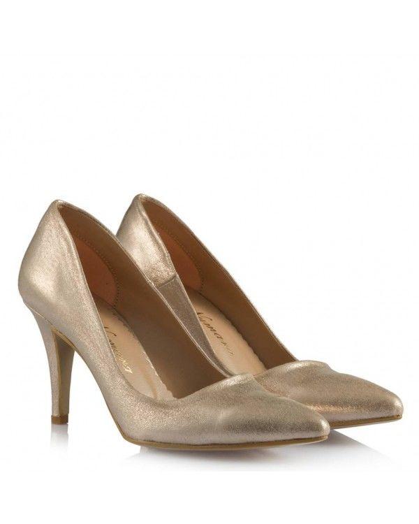 Stiletto Ayakkabı Dore Yaldızlı