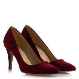 Bordo Süet Stiletto Ayakkabı