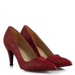 Stiletto Kırmızı Crocodile