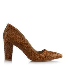 Stiletto Kalın Topuklu Taba Crocodile