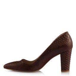 Stiletto Kalın Topuklu Kahverengi Crocodile