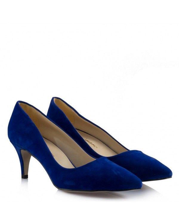 Stiletto Az Topuklu Mavi Süet Model