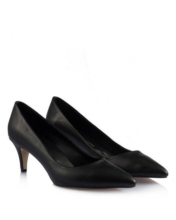 Siyah Kısa Topuklu Bayan Ayakkabı