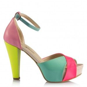 Renkli Platform Topuklu Ayakkabı