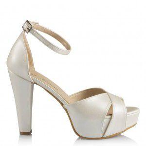 Gelin Ayakkabısı Kırık Beyaz Bantlı