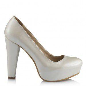 Gelin Ayakkabısı Alçak Topuklu Kırık Beyaz