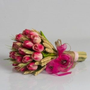 Gelin Çiçeği Fuşya Lale Buketi