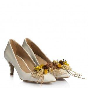 Gelin Ayakkabısı Az Topuklu Stiletto Kuru Çiçek Tasarım