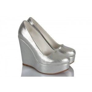 Lame Yaldızlı Dolgu Topuk Ayakkabı