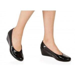Dolgu Topuk Ayakkabı Siyah Damla Hakiki Deri