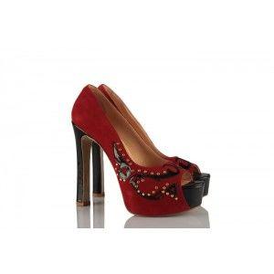 Kırmızı Hakiki Deri Platform Bayan Ayakkabı