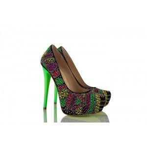 Siyah Süet Renkli Özel Tasarım Ayakkabı