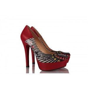 Kırmızı Tavşanlı Özel Tasarım Platform Bayan Ayakkabı
