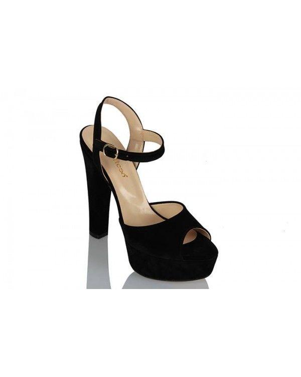 Platform Ayakkabı Siyah Süet Modeli