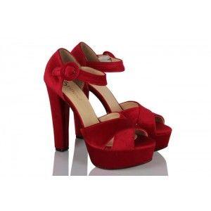 Platform Ayakkabı Kırmızı Kadife