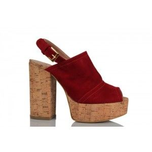 Platform Ayakkabı Kırmızı Süet