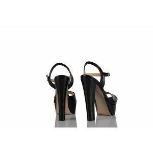 Platform Ayakkabı Siyah Rugan Kemerli