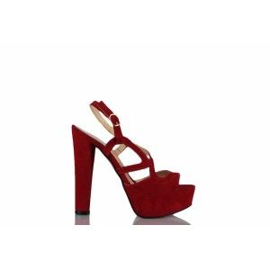 Platform Ayakkabı Kırmızı Süet Model