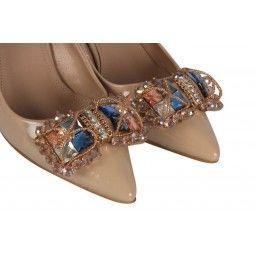 Kalın Topuklu Ayakkabı Ten Rugan Şık Tokalı
