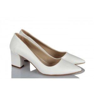 Kalın Topuklu Ayakkabı Beyaz Deri