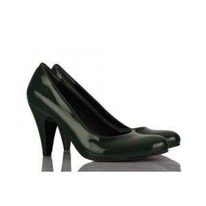 Yeşil Rugan Casual Topuklu Bayan Ayakkabı