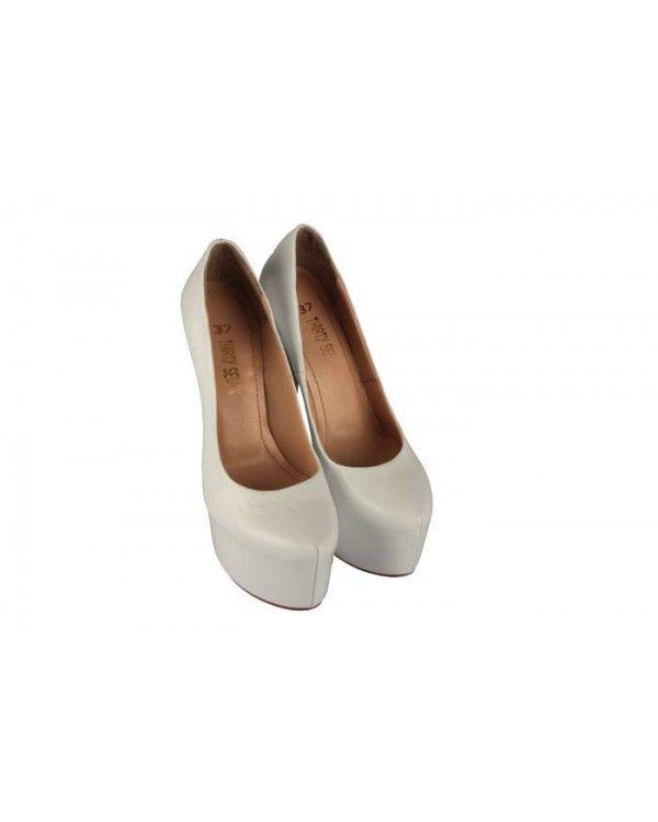 Beyaz Hakiki Deri 23 Pont Gizli Platform Gelinlik Ayakkabı