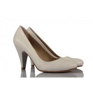 Beyaz Deri Casual Topuklu Gelinlik Ayakkabı